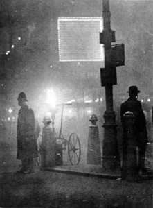 Fog in Piccadilly Circus, London, 1924.