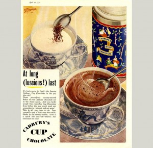 The Cadbury Cup Chocolate in the gay blue tin! Ad from 1951