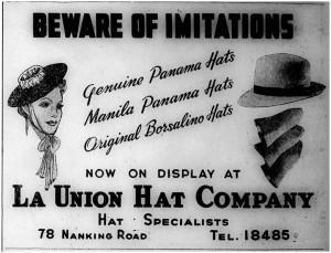 La Union Hat Co ad 1940