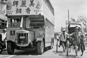 Shanghai buses and rickshaw - 1930s