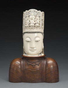 A large carved ivory head of Guanyin