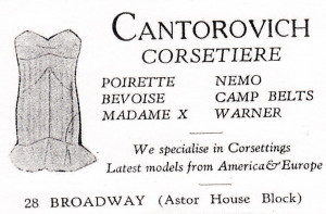 Cantorovich Corsertrie - Broadway - 1930