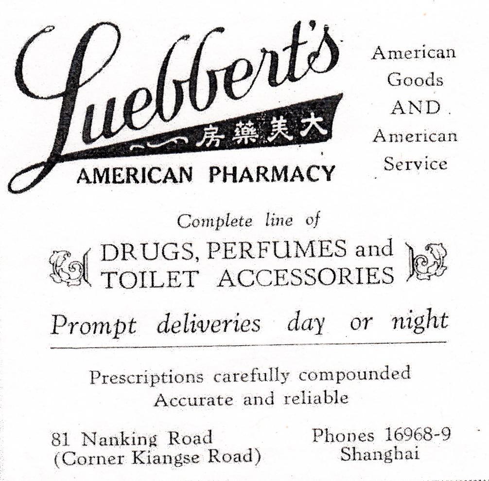 Luebberts Pharmacy - Nanking Rd - 1930